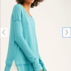 free people north shore teal sweater NWT